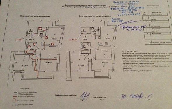 Эскиз перепланировки квартиры