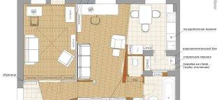 Перепланировка двухкомнатной квартиры в трехкомнатную